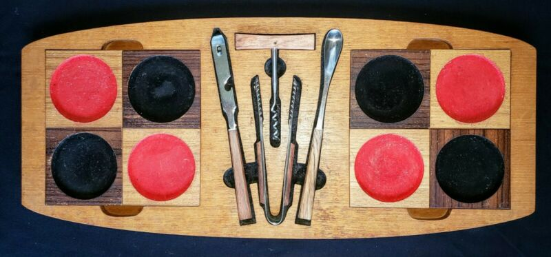 Bar Tool Set & 8 Coasters~W/Teak Serving Tray~MCM~Vintage~Very Good Condition