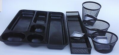 OFFICE DESK TRAY CUP ORGANIZERS Steel Mesh Plastic Black Silver, SELECT: (Desk Tray Type)