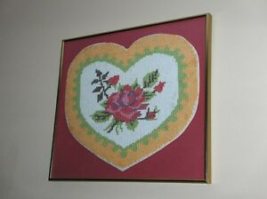 Professional Framed of Professional Needlepoint Heart w Flowers