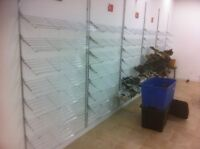 SHOE SHELVING,SHOWCASES,SALES COUNTERS MANNEQUIN HEADS USED