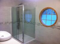 Shower base and shower door installation