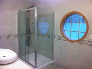 Shower base and shower door installation