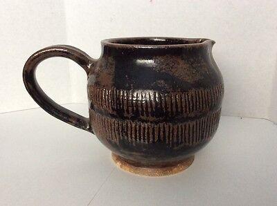 Signed Bottom- Mid Century Ptcher Heavyweight Stoneware Handcrafted Pottery