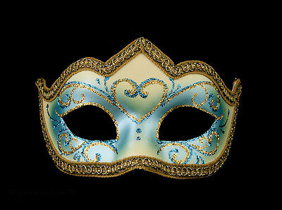 Mask Venetian Wolf Blue and Golden Colombine a Tip Hallmarked a Venice 1192 V62