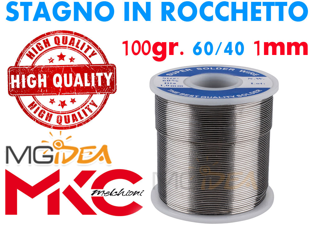STAGNO IN ROCCHETTO 60/40 100GR. 1MM PER SALDARE SALDATURA HIGH QUALITY