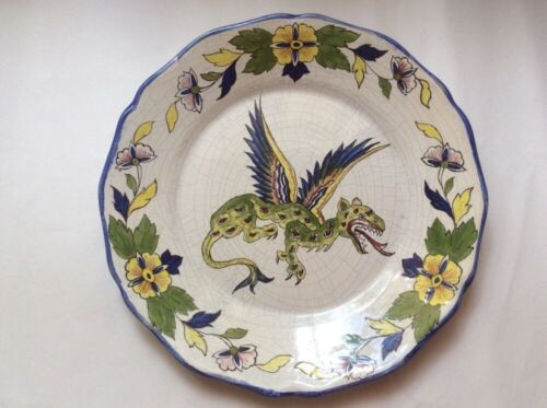 Antique French Faience Hand Painted Winged Dragon Plate and Floral Rim