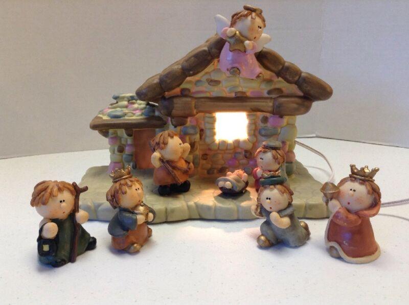 Nativity Set Lighted 8 Piece Ceramic & Resin Christmas