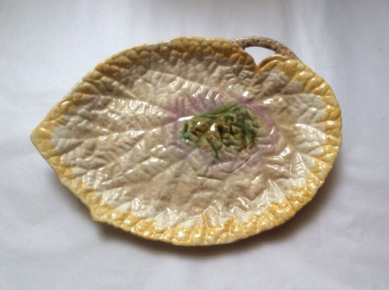 Platter Antique Majolica Begonia Leaf Platter Bright Colors! c1800