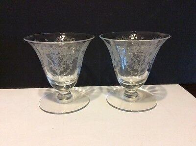 "Morgantown Virginia Optic Urn Crystal 3 3/8"" Oyster Glass Lot Of 2"