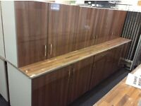Walnut Gloss Fully Assembled Kitchen Units & 1 Worktop