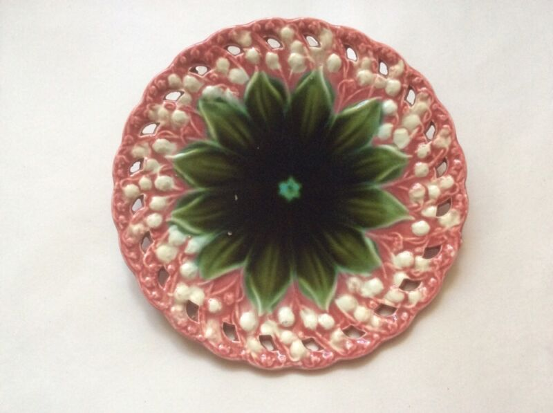 Antique Plate Majolica Lily of the Valley Pierced Plate c1800