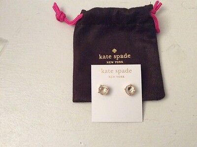 NEW Kate Spade NY Gumdrop Stud Earrings Clear Gold Tone 14K Gold W/pouch #103