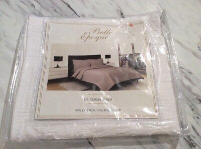 CGG Home Fashions Belle Epoque CUARDROS King Pillow Sham 20x36 White NWT