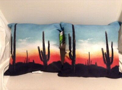 """Indoor/Outdoor Toss Pillows Blue & Black """"Sunset """" Polyester 16X16 In.Set Of 2"""