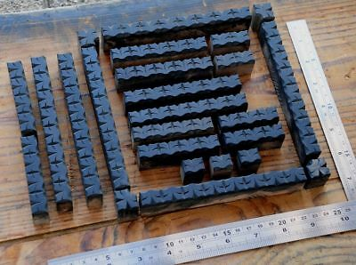 Letterpress Border Wooden Printing Blocks Ornaments Art Nouveau Wood Leaves Old