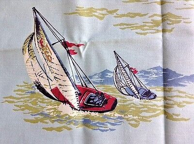 "Vintage Nubby Blue Cotton Sailboat Nautical Print Fabric 1 Yd 36"" x 45"""