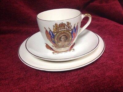 Coronation Queen Elizabeth II 3 pieces Tea Cup Set