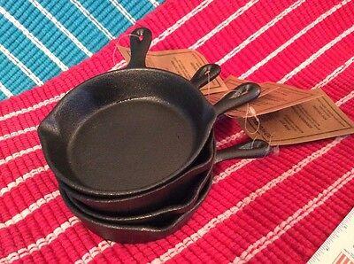 "Set of 4 Individual/Single Serving 4"" Mini Cast Iron Skillet/Pan camping & home"