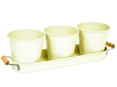 Retro Vintage Cream Enamel Set of 3 Plant Herb Flower Pot Pots Planter with Tray