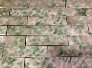 COMPLETE SET VINTAGE VICTORIAN ANTIQUE FIREPLACE TILE MANTLE Tiles Rose Green