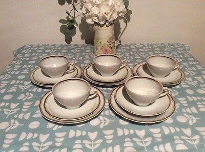 VINTAGE TEA SET GOLD Edge Trios X 5.  Kahla GDR Antique.  Wedding Party