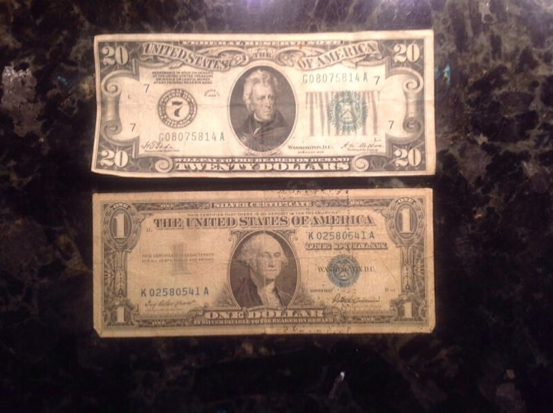 1928 $20 Federal Reserve Note - Numerical 7  + 1957 $1 Silver Certificate