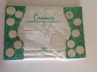 Cannon Percale White Double Bed Flat Sheet Vintage