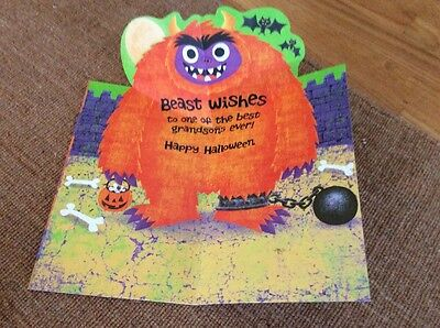 Large Pop Up Fold Out Grandson Fun Halloween Card Monster Beast Knock Knock](Halloween Pop Out Card)