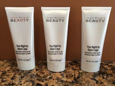 3-PK JOAN RIVERS THE RIGHT TO BARE LEGS COVER-UP TATTOO SCAR VEIN LOTION *TAN