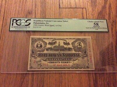1900 Republican National Convention Ticket William McKinley Teddy Roosevelt PCGS