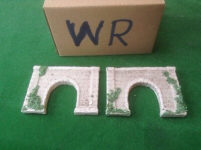 2 X Z Scale Tunnels, Single Track, Painted-weathered- With Foliage