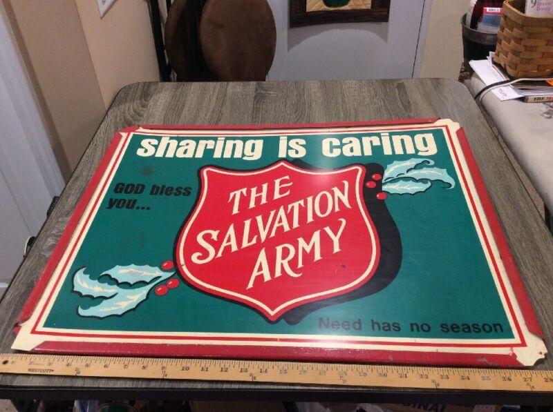 VTG Salvation Army XMAS Sign SHARING IS CARING NEED HAS NO SEASON GOD BLESS YOU