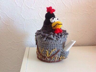 Handmade Chicken Ornamental Crochet Teapot Cover