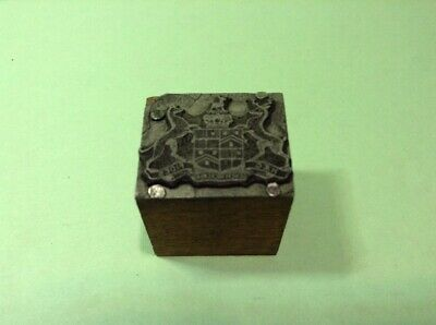 Vintage Metal On Wood Printing Block- Townshend Family Coat Of Arms