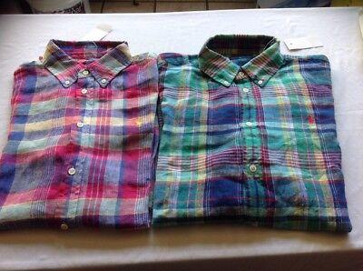 NWT RALPH LAUREN Women's Button Down Long Sleeves Polo Shirt Linen Large Or XL