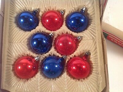 8 Vintage Hand Made European Collection Glass Christmas Tree Ornaments. Poland