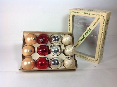"12 Vintage MADE IN USA 2-1/2"" Assorted Glass Ball Christmas Tree Ornaments & Box"
