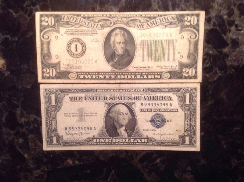 1934  $20 FRN - Minneapolis + 1957B $1 Silver Certificate - High Serial Number