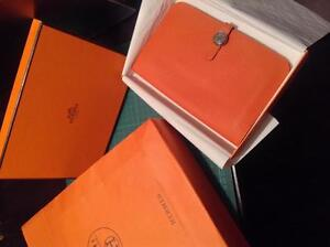 AUTHENTIC HERMES ORANGE WALLET W/ ADDITIONAL COIN PURSE
