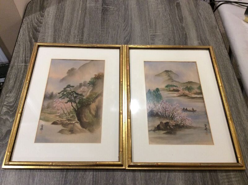 2 ANTIQUE ASIAN ORIENTAL ORIGINAL SIGNED WATERCOLOR PAINTING ON SILK GOLD FRAMES