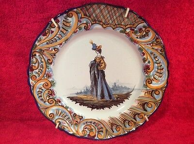 Antique Keller & Guerin Hand Painted French Faience Fashion Plate c1890