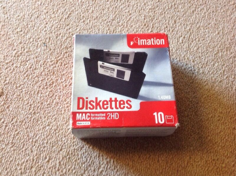 "imation 2HD MAC Formatted Diskettes, 3.5"" / 1.40MB (Box of 10) New"