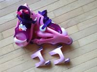 Barbie In line rollerblades with training wheels - shoe size 9-1