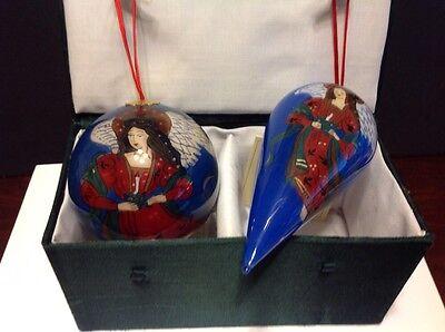 Reverse/Inside Hand Painted Glass Angel Ornament Set of 2 pcs.