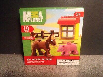 (NEW Animal Planet My First Farm Pig & Horse 10 Piece Junior Building Blocks Set)
