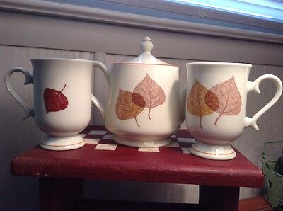 Shafford Japanese Teapot With Two Mugs~Cups~~Linden Leaves~~1979~~Vintage