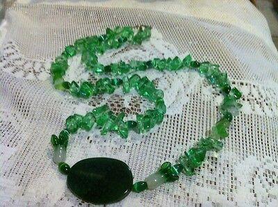 Green Dragon Vein Blood Agate Flower & Cat Eye Glass Beads Necklace Cat Eye Flowers Bracelet