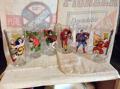 Vintage Set 6 Pepsi Collector Series DC Comics Super Hero Glasses