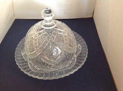 EAPG Butter Dish Garden Pink/Flower Medallion Indiana Glass Circa Approx1913