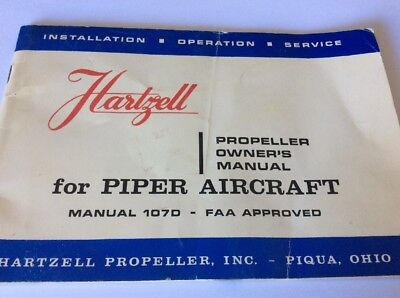 USED Hartzell Propeller Owners Manual for Piper Aircraft Manual 1070 qty 1 (M)
